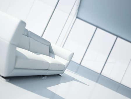 leren bank: moderne witte lederen sofa in een licht interieur met grote ramen