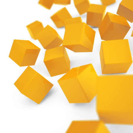 alling: Falling and hitting yellow cubes on a white background