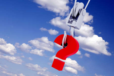 metallic hook with the suspended question-mark on a background clouds photo