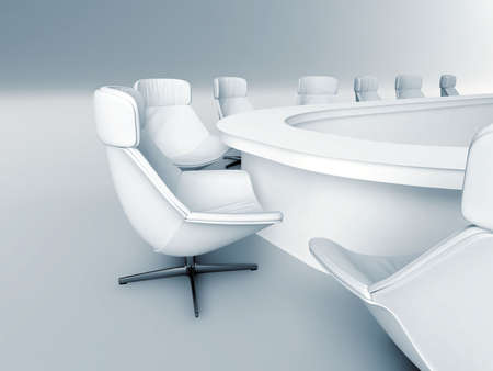 rounded table is surrounded white leather chairs in a light room Stock Photo - 6430363