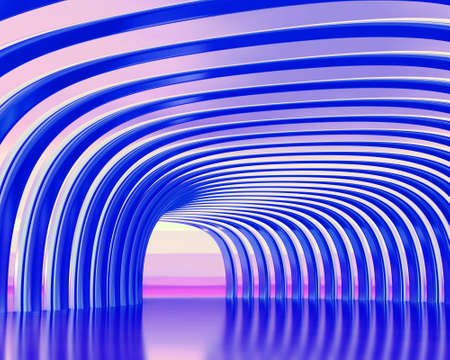 Turn of the shined corridor with blue columns Stock Photo - 6430360