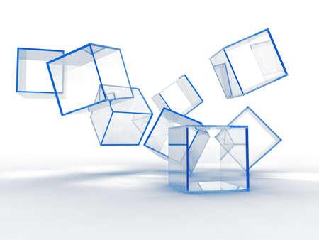 objetos cuadrados: Cubos de vidrio abstracto azul sobre un fondo blanco