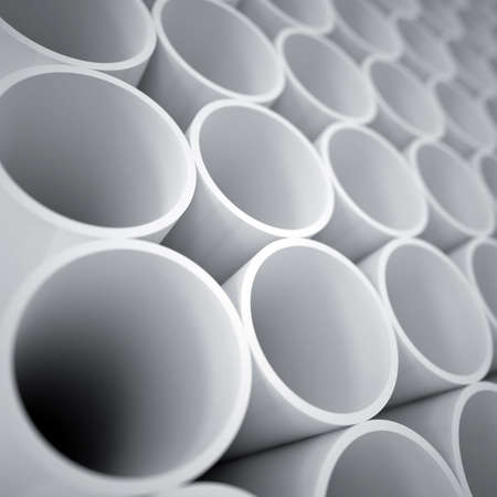concave: white plastic cylinders as a industrial background