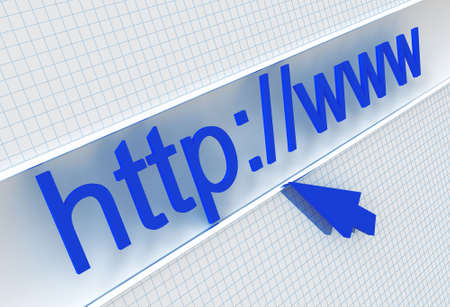 url in the address line and cursor on the white checked background Stock Photo - 6486031