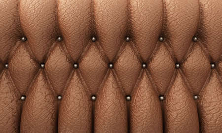 button tufted: close-up of brown leather tufted upholstery furniture Stock Photo