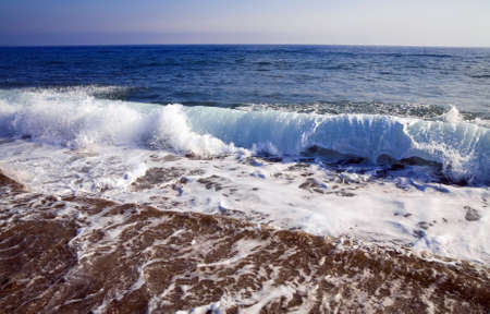 foamy shore blue waves over the horizon in a clear summer day Stock Photo - 6591167