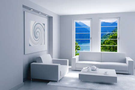 picture window: interior of light modern room with a beautiful landscape after a window Stock Photo