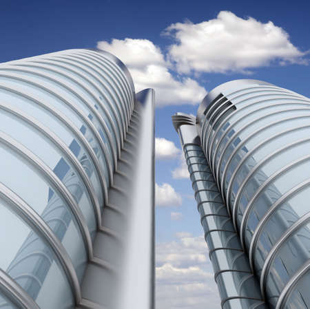 High modern skyscrapers on a background of the blue sky and clouds Stock Photo - 6591178