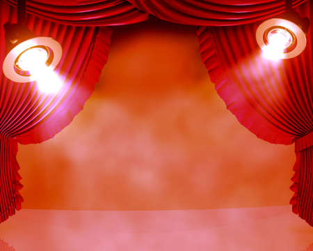 performing: Two working spotlights on a club stage in clots of a smoke