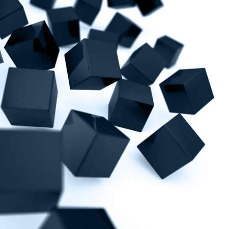 alling: Falling and hitting dark blue cubes on a white background