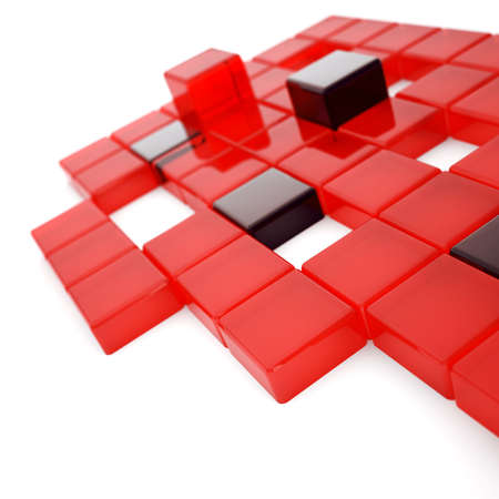 cubicle: Abstract red and dark glass cubes on a white Stock Photo