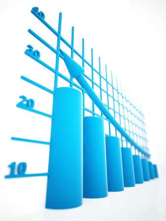 blue columns of diagram with arrow rising upwards Stock Photo - 6831977