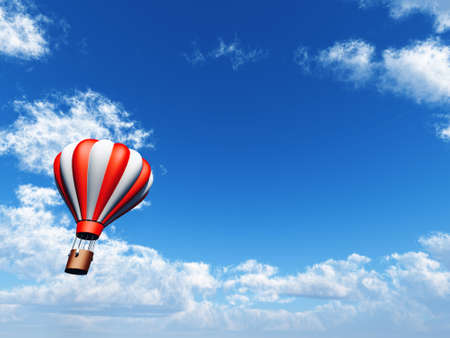 bright balloon is in blue cloudy sky Stock Photo - 6893198