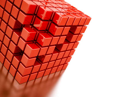 Abstract bright red cubes on a white background Stock Photo - 6893184