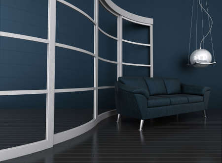 blue leather sofa is in a dark modern interior photo