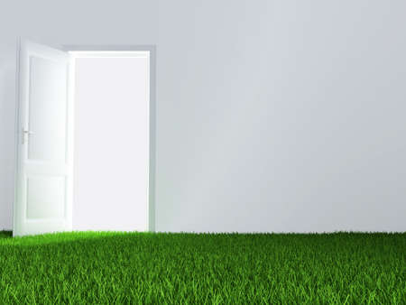 unclosed: white wall, unclosed door and juicy green lawn Stock Photo