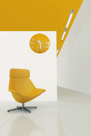 orange toned interior with moder chair and clock photo
