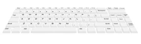 computer keyboard keys: modern computer keyboard with white buttons Stock Photo