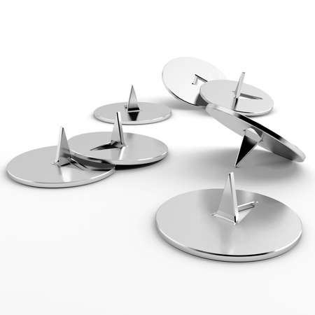 metallic office pins on a white background Stock Photo - 7169379