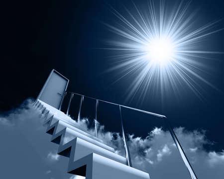 ontbering: trap en deur in de wolken op een achtergrond lucht en zon
