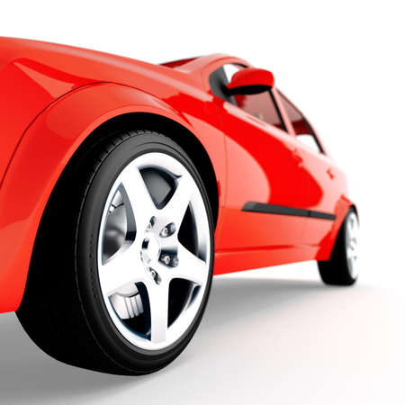 stock car: red car of sports type on a white background
