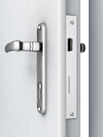 opened door with a modern locking mechanism on a white background photo