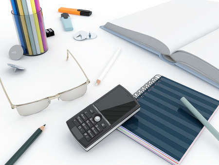different office objects and equipment on a white background photo