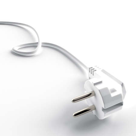 nonworking: light cable and electric plug on a white background Stock Photo
