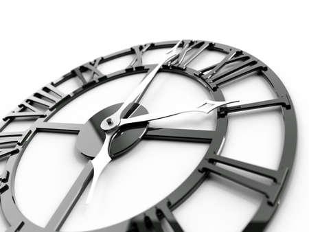 past midnight: old dark metallic clock on a white background Stock Photo