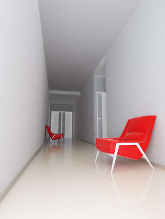 light empty hall of business center with red arm-chairs at walls photo