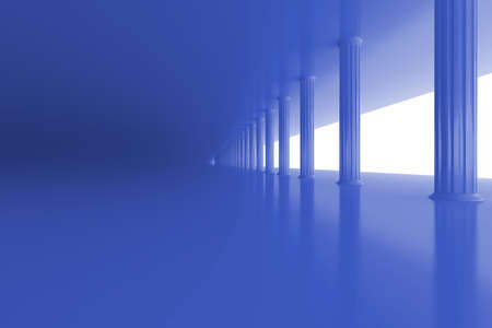 vanishing: blue marble row of columns vanishing in the distance Stock Photo