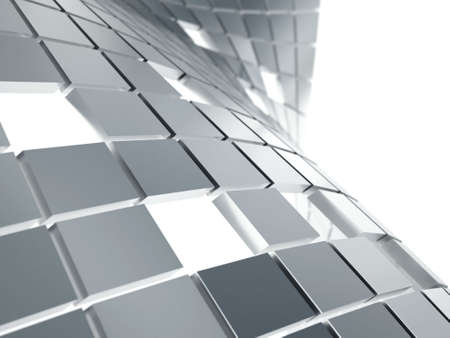 abstract background from gray metallic cubes on a white Stock Photo