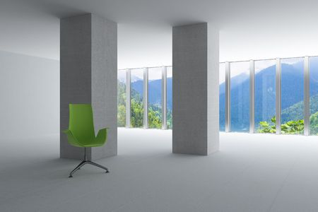 empty hall of modern business office with light from windows photo