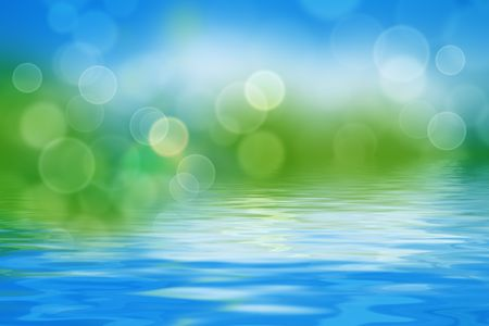 summer background with blurs and refelctions in water photo