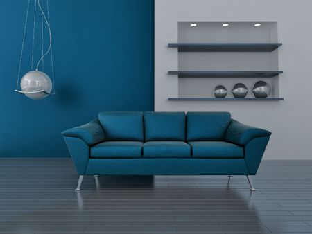 interior in blue tones with a sofa and lamp photo