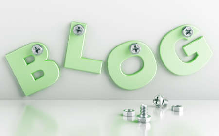 press nuts: word blog attached with bolts on a white background