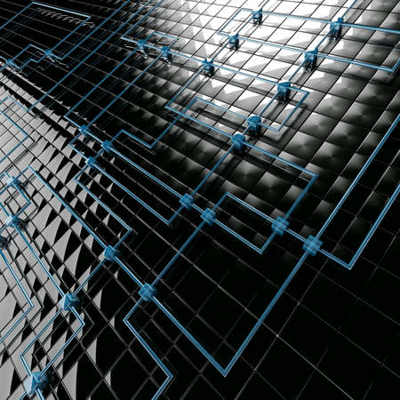 attached: Abstract background from black metal big and blue small cubes