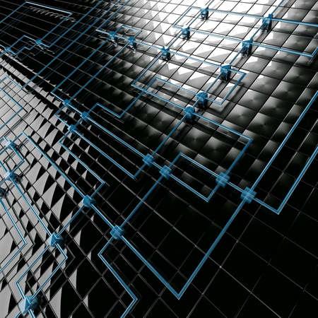 adjuntar: Fondo abstracto de black metales azules y grandes cubos peque�os  Foto de archivo