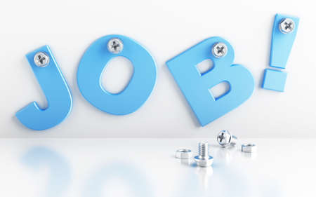 word job attached with bolts on a white background Stock Photo - 7804508