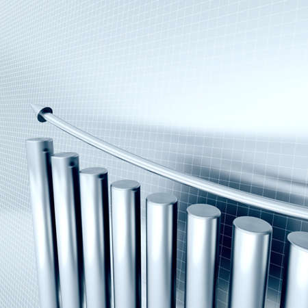 franchises: blue metallic columns of diagram with arrow rising upwards Stock Photo