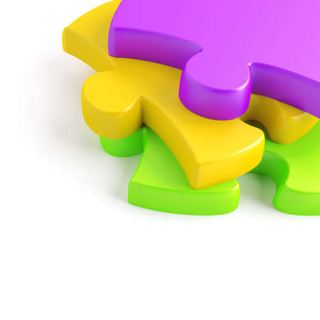 Parts of a puzzle with funny colors on a white background photo