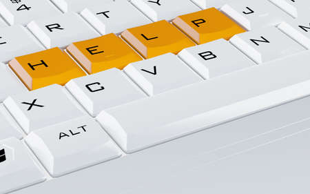 white computer keyboard with the orange buttons help Stock Photo - 7949484