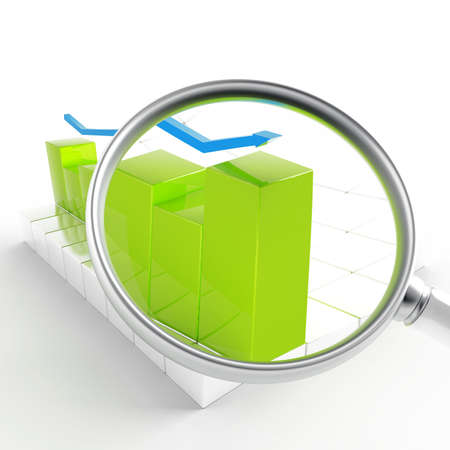 franchises: green and blue charts under magnification on white background Stock Photo