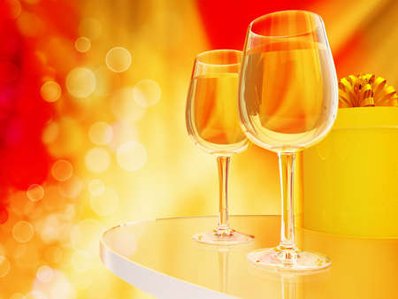 Champagne in glasses on a bright yellow and red background