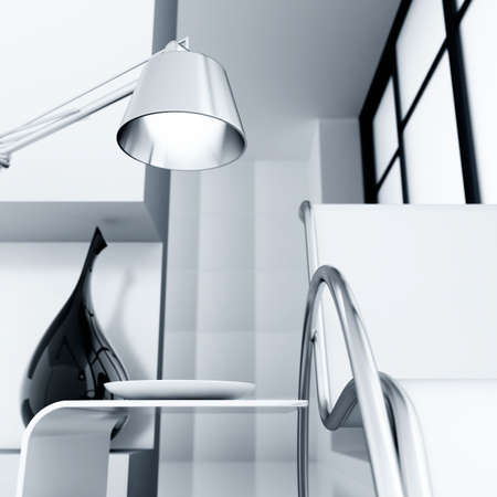modern room with chair and lamp and light from a window Stock Photo - 7949485