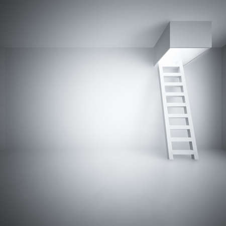 steps to success: Ladder upwards in a light room Stock Photo