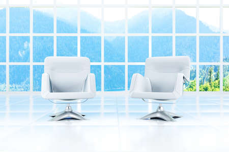 office equipment: Two armchairs in a light room and a landscape in a window Stock Photo