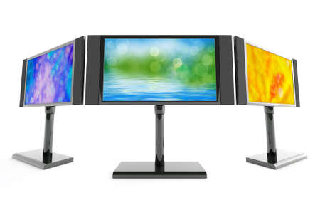 modern monitors with bright images on white background photo