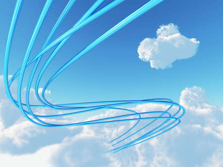 futuristic nature: blue metallic cables connected to cloud an invironment of bright sky Stock Photo