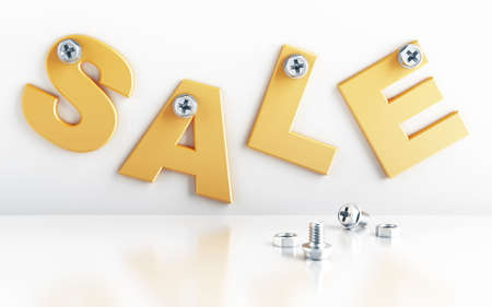 screwing: word sale attached with bolts on a white background Stock Photo